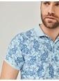 MCL Polo Yaka Desenli Tişört Mavi